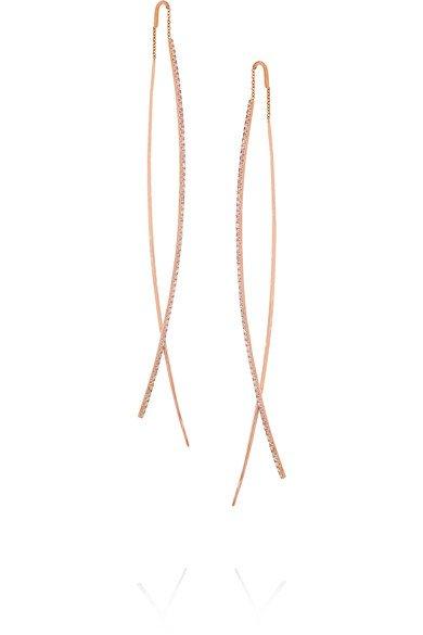 DIANE KORDAS Double Bar 18-karat rose gold diamond earrings