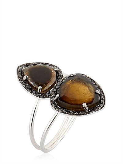 CELINE DAOUST STELLA RING WITH BLACK DIAMONDS