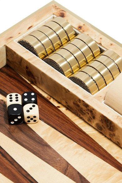 AERIN Faux shagreen and wood backgammon set