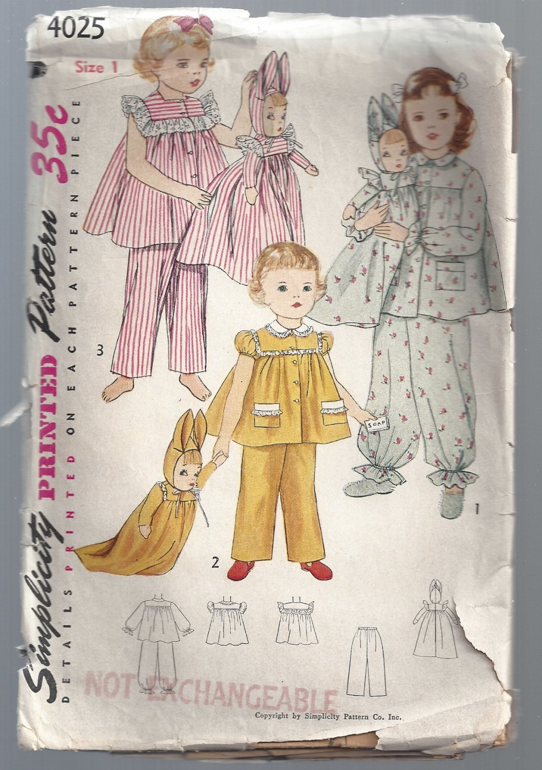 Vintage Simplicity Printed Pattern #4025 Child's Pajamas and Laundry Bag Doll, Free Shipping