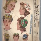 Vintage McCall Printed Pattern Misses' and Girls' Embroidered Hats #967 Free Shipping