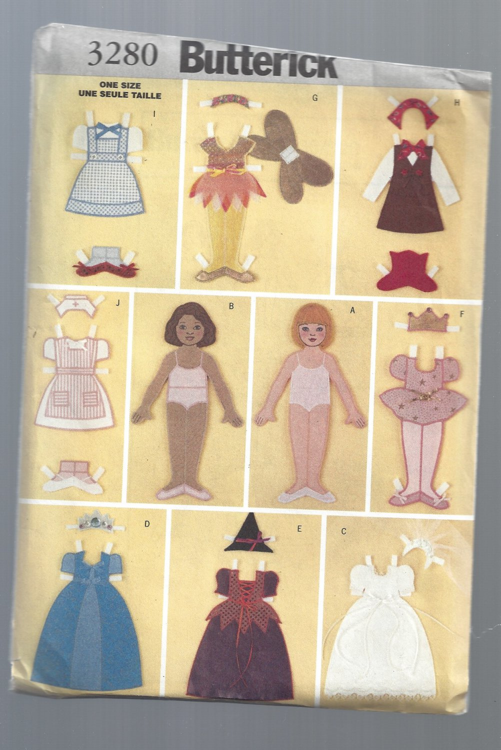 "Butterick Pattern 3280: 12"" Fabric ""Paper"" Doll & Clothes, Free Shipping"