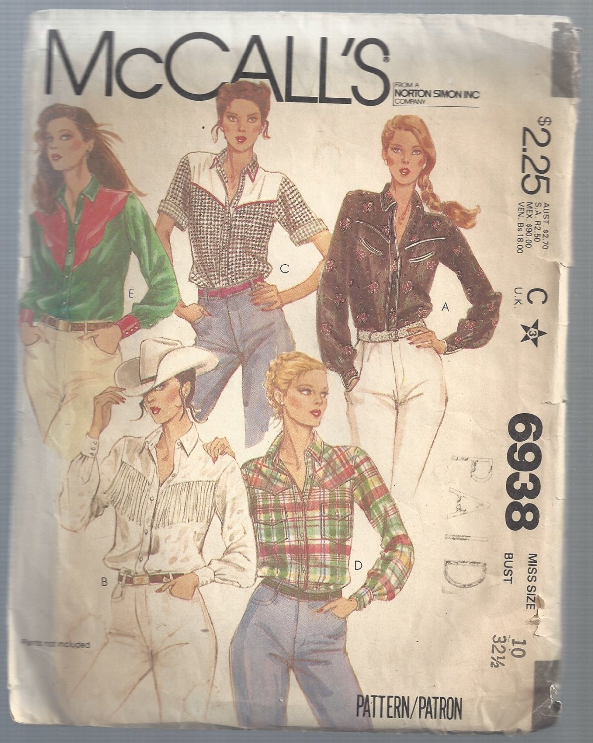 Vintage McCall's Pattern 6938: Misses' Yoked Shirts, Free Shipping