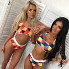 Colorful Printing Swimsuits Bralette Tankini Tops Halter Swimming Bathing Suit