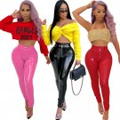 Fashion Latex Pants Sexy Women Wet Look Plus Size Faux Leather Leggings Skinny PU Trousers