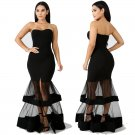 Women Spring Break Clothes Mesh Striped Cocktail Maxi Dress Off Shoulder Sexy Party Dresses