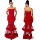 Fashion Runway Dress Women Long Mesh Maxi Dresses Off Shoulder Sexy Evening Dress