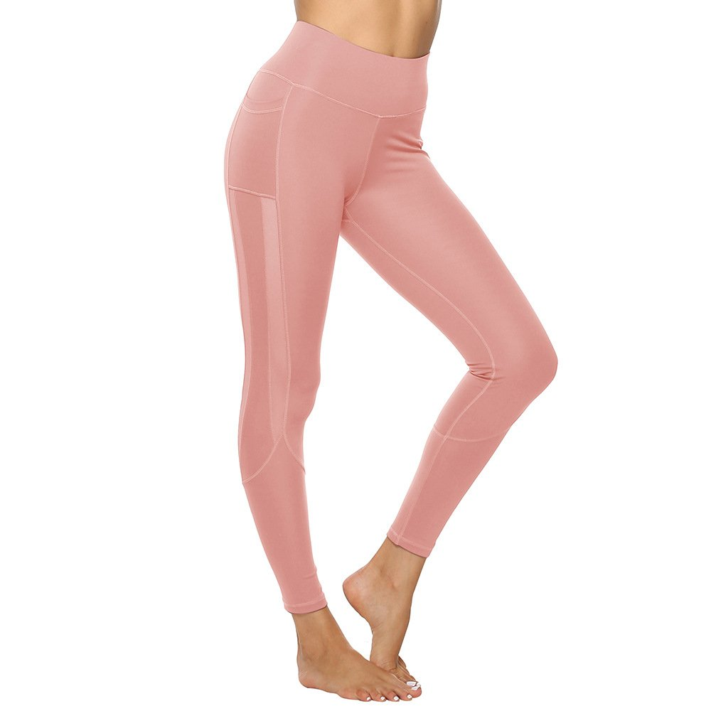 Female Body Mechanics Clothing Women Solid Color Exercise Leggings Mesh Activewear