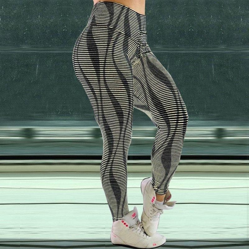 Stripe Printing Jogging Clothing Gym Running Leggings High Waist Exercise Capris