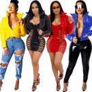 Women Chic Fall Outerwear Plus Size 3XL Down Coat Punk Streetwear Female PU Down Jackets