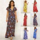 Plus Size XXL Female Boho Dress Short Sleeve Floral Printed Casual Dresses