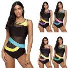 Plus Size 4XL One Piece Swimwear Women Tropical Beachwear Contrast Color Monokini