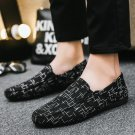 Men Striped Canvas Loafers Denim Slip-on Casual Shoes 50% Fashion Male Autumn Loafers
