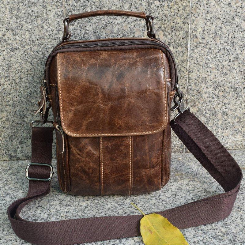 Men Distressed Oiled Leather Shoulder Laptop Backpack Tactical Vintage Sling Assault