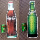 1990's Giant 60cm Coca-Cola & Sprite Bottle Shape Adhesive Stickers / Window Decal Set of 2