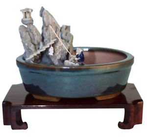 Home Decor Water Stone Landscape Scene Ceramic Bonsai Pot - (FREE SHIPPING)