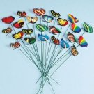 Set of 12 Garden Yard Planter Colorful Whimsical Butterfly Stakes