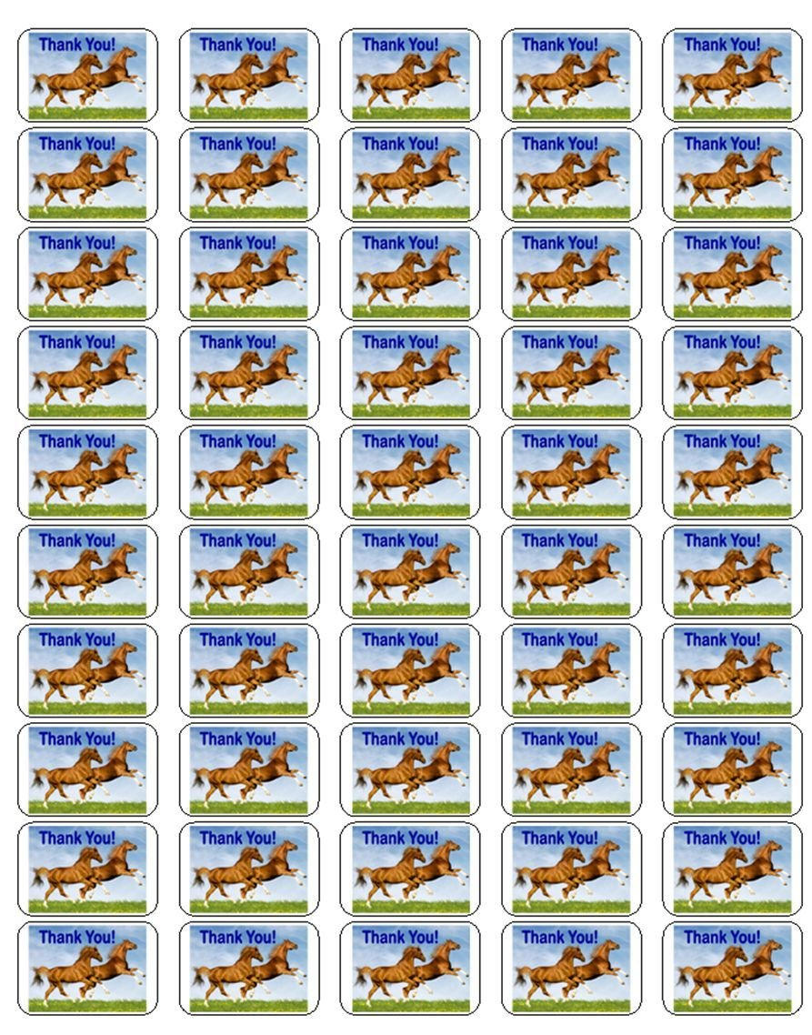 """50 Horse Thank You! Envelope Seals / Labels / Stickers, 1"""" by 1.5"""""""