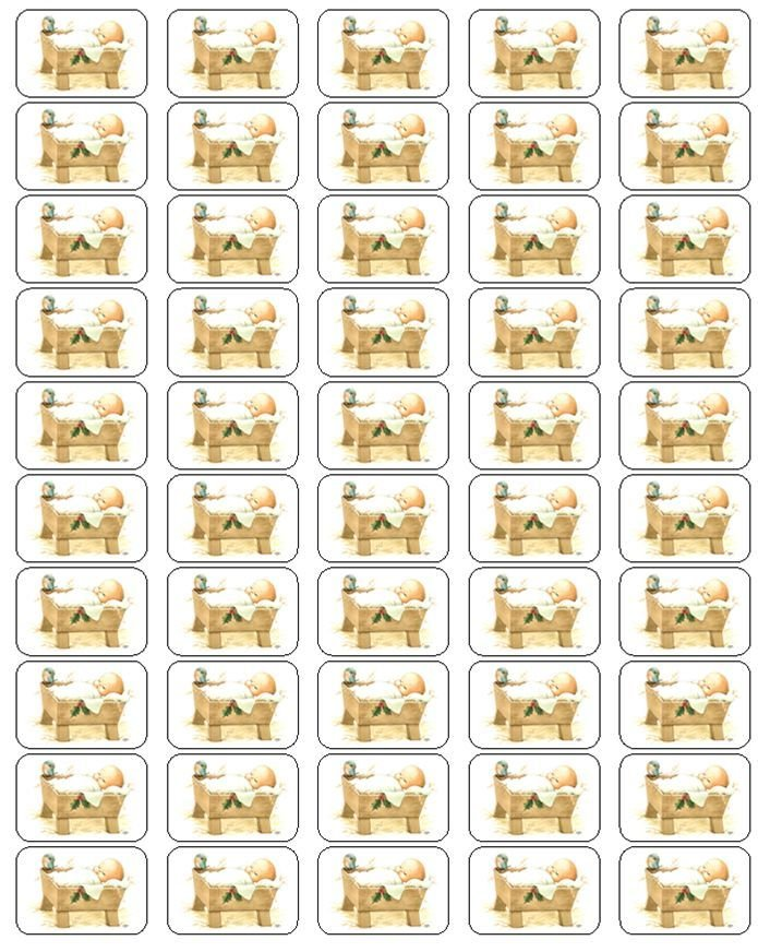 """50 Baby Jesus In Manger Envelope Seals / Labels / Stickers, 1"""" by 1.5"""""""