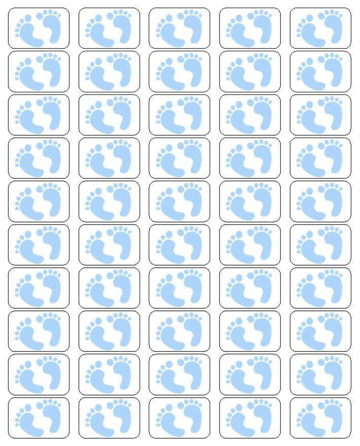 """50 Blue Baby Feet Envelope Seals / Labels / Stickers, 1"""" by 1.5"""""""