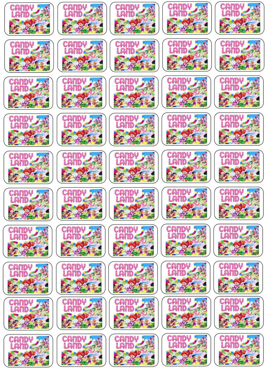 """50 Candy Land Envelope Seals / Labels / Stickers, 1"""" by 1.5"""""""