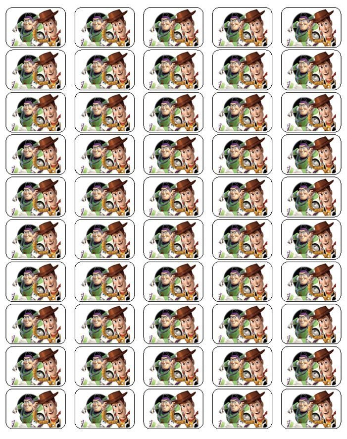 """50 Buzz Lightyear and Woody Envelope Seals / Labels / Stickers, 1"""" by 1.5"""""""