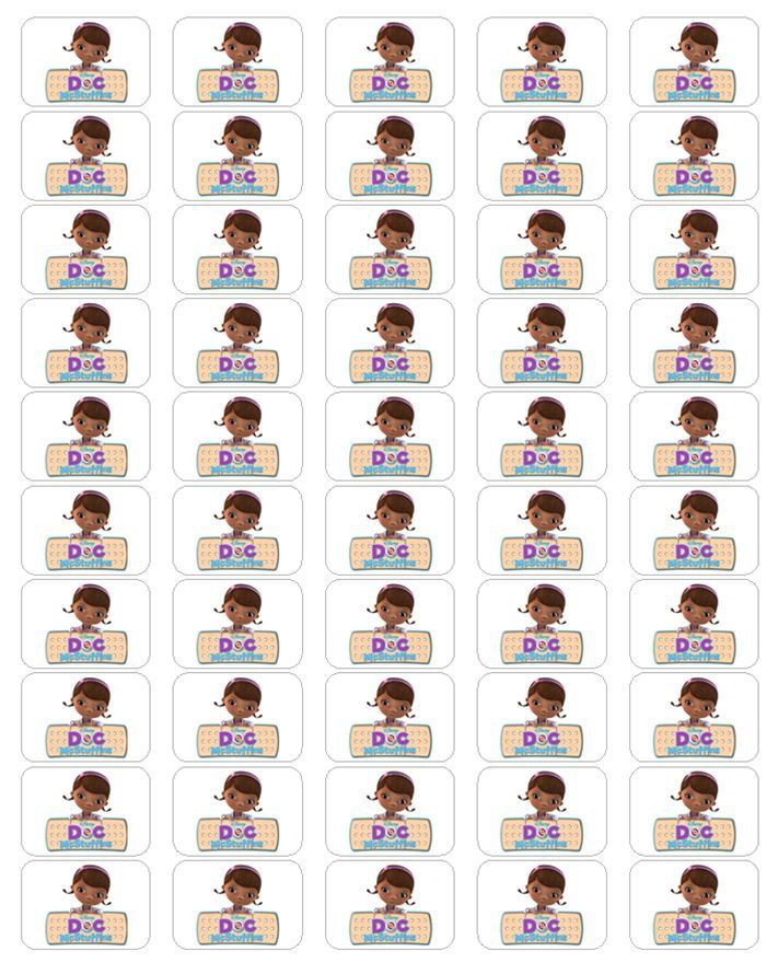 "50 Doc McStuffins Envelope Seals / Labels / Stickers, 1"" by 1.5"""