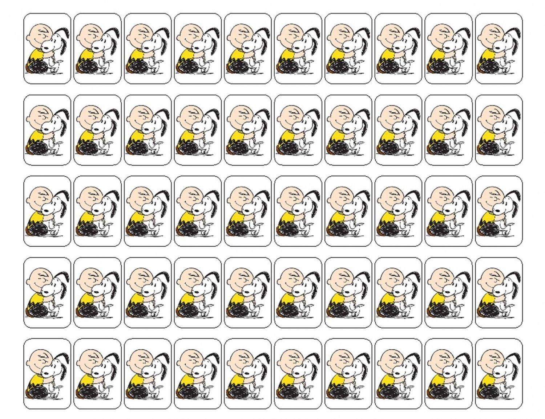 "50 Charlie Brown Snoopy Hug Envelope Seals / Labels / Stickers, 1"" by 1.5"""