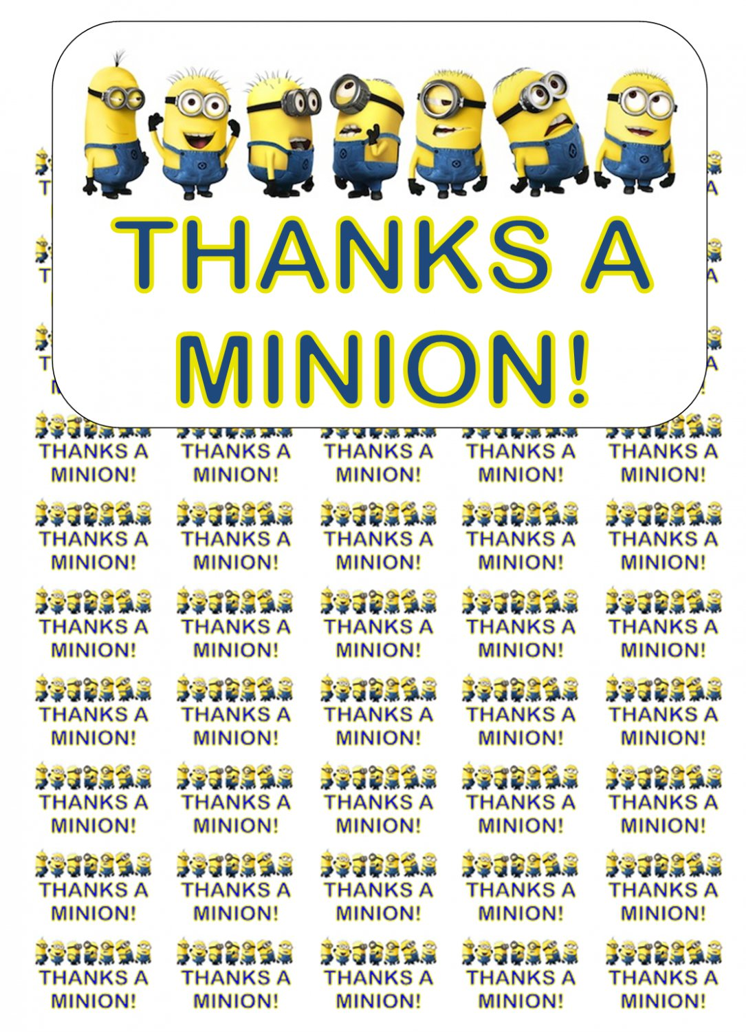 "50 Thanks a Minion! Envelope Seals / Labels / Stickers, 1"" by 1.5"""