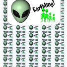 "50 Alien Thank You Envelope Seals / Labels / Stickers, 1"" by 1.5"""