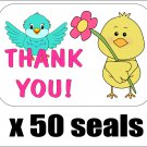 "50 Cute Birds Thank You Envelope Seals / Labels / Stickers, 1"" by 1.5"""
