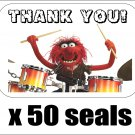 "50 Animal (Muppets) Thank You Envelope Seals / Labels / Stickers, 1"" by 1.5"""