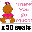 """50 Baby Girl Shower Thank You So Much! Envelope Seals / Labels / Stickers, 1"""" by 1.5"""""""