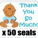 "50 Baby Boy Shower Thank You So Much! Envelope Seals / Labels / Stickers, 1"" by 1.5"""