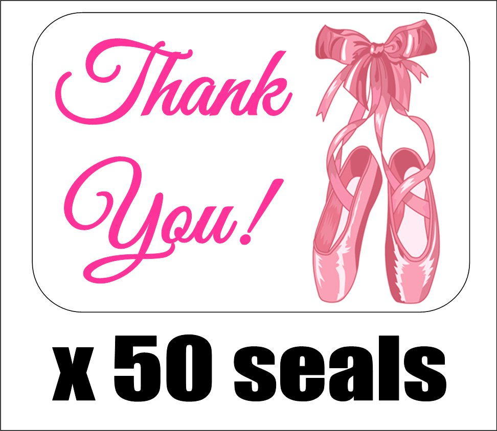 """50 Ballet Slippers Thank You Envelope Seals / Labels / Stickers, 1"""" by 1.5"""""""