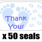 "50 Blue Baby Feet Thank You Envelope Seals / Labels / Stickers, 1"" by 1.5"""