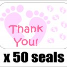 "50 Pink Baby Feet Thank You Envelope Seals / Labels / Stickers, 1"" by 1.5"""