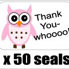 "50 Pink Owl Thank You Envelope Seals / Labels / Stickers, 1"" by 1.5"""