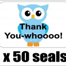 "50 Blue Owl Thank You Envelope Seals / Labels / Stickers, 1"" by 1.5"""