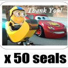 "50 Disney Cars and Minion Thank You Envelope Seals / Labels / Stickers, 1"" by 1.5"""