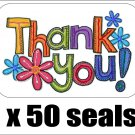 "50 Colorful Flower Thank You Envelope Seals / Labels / Stickers, 1"" by 1.5"""