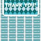 "50 Argyle Aqua Teal Thank You Envelope Seals / Labels / Stickers, 1"" by 1.5"""