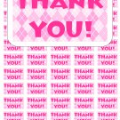 "50 Argyle Pink White Thank You Envelope Seals / Labels / Stickers, 1"" by 1.5"""