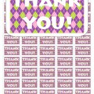 "50 Argyle Pink Green Purple Thank You Envelope Seals / Labels / Stickers, 1"" by 1.5"""