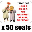 "50 Beaker and Bunsen Honeydew Thank You Envelope Seals / Labels / Stickers, 1"" by 1.5"""