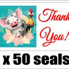 "50 Pua Pig (Moana) Thank You Envelope Seals / Labels / Stickers, 1"" by 1.5"""