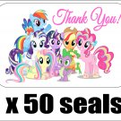 "50 My Little Pony (All Rainbow) Thank You Envelope Seals / Labels / Stickers, 1"" by 1.5"""
