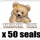 "50 Teddy Bear Thank You Envelope Seals / Labels / Stickers, 1"" by 1.5"""
