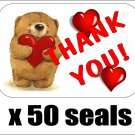 "50 Bear With Hearts Thank You Envelope Seals / Labels / Stickers, 1"" by 1.5"""