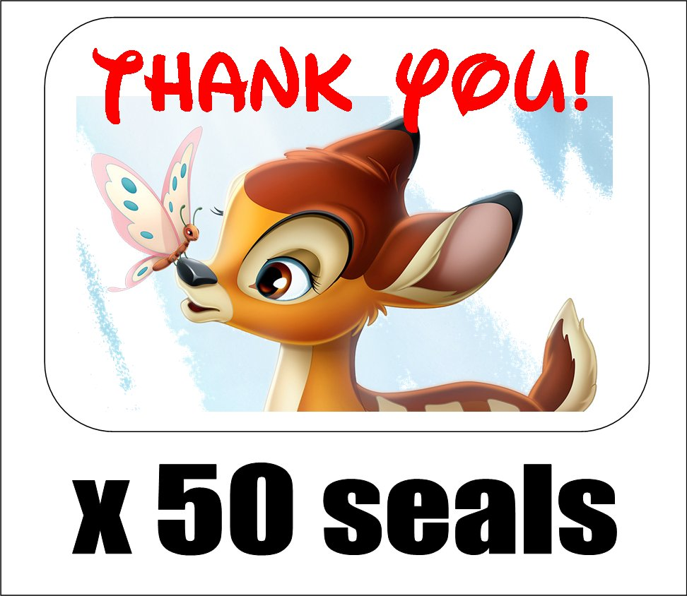 """50 Bambi Thank You Envelope Seals / Labels / Stickers, 1"""" by 1.5"""""""